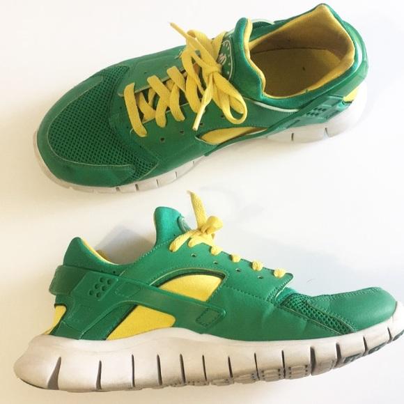 Nike Huarache Free 2012 Green Yellow Court